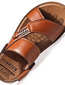 cheap Men's Polos-Men's Light Soles Leather Spring / Summer Comfort Sandals Walking Shoes Black / Brown / Khaki