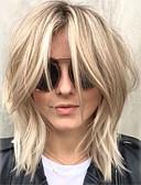 billige Herreundertøj og -sokker-Human Hair Capless Parykker Menneskehår Bølget Frisure i lag Med bangs / pandehår Side del Medium Maskinproduceret Paryk Dame