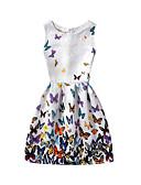 hesapli Kadın Elbiseleri-Kadın's Kumsal Tatil Pamuklu A Şekilli Elbise - Çiçekli Diz-boyu Yüksek Bel