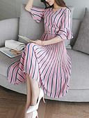 cheap Party Dresses-Women's Fine Stripe Daily Sheath Dress - Striped Summer Silk / Cotton Green Pink
