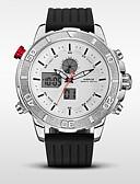baratos Relógios Militares-WEIDE Homens Relógio Esportivo / Relógio Militar Japanês Alarme / Calendário / Impermeável Silicone Banda Preta / Aço Inoxidável / LCD / Dois Fusos Horários / Cronômetro