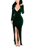 cheap Plus Size Dresses-Women's Plus Size Party Bodycon Dress - Solid Colored Split / Wrap Maxi Deep V / Sexy / Skinny