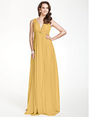 cheap Mother of the Bride Dresses-A-Line V Neck Floor Length Chiffon Bridesmaid Dress with Beading / Draping / Crystal Brooch by LAN TING BRIDE® / Beautiful Back