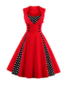 cheap Mother of the Bride Dresses-Women's Plus Size Going out Vintage A Line Dress - Polka Dot Red, Print