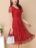 זול שמלות נשים-אדום עד הברך Ruched / דפוס שמלה גזרת A מידות גדולות בגדי ריקוד נשים / קיץ