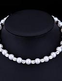 hesapli Lüks Saatler-Kadın's İnci Kübik Zirconia Gerdanlıklar İmitasyon İnci Kübik Zirconia Bayan Temel Beyaz Kolyeler Mücevher Uyumluluk Düğün Özel Anlar Nişan Hediye Günlük sevgililer günü