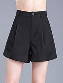 ieftine Pantaloni de Damă-Pentru femei Mărime Plus Size Bumbac Picior Larg / Pantaloni Scurți Pantaloni - Mată Plisată Negru