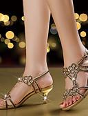 cheap Cocktail Dresses-Women's Shoes Microfiber Summer / Fall Comfort / Novelty / Club Shoes Sandals Walking Shoes Stiletto Heel Open Toe Rhinestone / Sparkling Glitter / Buckle Gold / Purple / Blue / Wedding