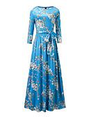 זול שמלות נשים-כחול גיזרה גבוהה מקסי פרחוני - שמלה נדן מידות גדולות סגנון רחוב / מתוחכם חגים בגדי ריקוד נשים / אביב / סתיו / דפוסי פרחים