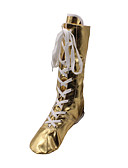 baratos Aço Inoxidável-Mulheres Sapatos de Jazz Couro Envernizado Botas Sem Salto Não Personalizável Sapatos de Dança Dourado / Prateado / Espetáculo
