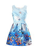 cheap Women's Dresses-Women's Daily Holiday Beach A Line Dress - Animal Butterfly, Print Summer Cotton Blue Pink