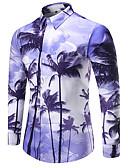 baratos Camisas Masculinas-Homens Camisa Social - Esportes Praia Activo Flor, Geométrica Estampado Algodão