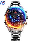 preiswerte Militäruhr-Herrn Quartz Armbanduhr Sportuhr Japanisch Alarm Kalender Wasserdicht LED Nachts leuchtend Duale Zeitzonen Edelstahl Band Luxus Modisch