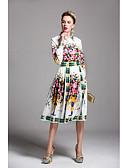 billige Damekjoler-Dame Skjede Kjole Trykt mønster Skjortekrage