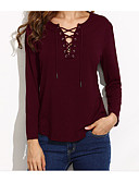 cheap Women's T-shirts-Women's Cotton Shirt - Solid Colored V Neck / Lace up