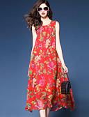 baratos Vestidos Femininos-Mulheres Tamanhos Grandes Sofisticado Boho Solto Chifon balanço Vestido - Fashion Chifon Estampado, Floral Médio