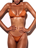 ieftine Bikini & Costume Baie 2017-Pentru femei Solid / plunging răscroială Bikini Mată Halter