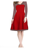 cheap Fashion Watches-Women's Cotton Sheath Dress - Solid Colored V Neck