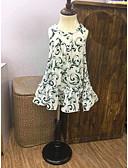 baratos Vestidos de Mulher-Menina de Vestido Treliça Verão Algodão Sem Manga Floral Branco