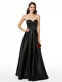 cheap Cocktail Dresses-A-Line Sweetheart Neckline Floor Length Satin Bridesmaid Dress with Pleats by LAN TING BRIDE® / Open Back