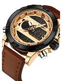 ieftine Ceasuri Digitale-NAVIFORCE Bărbați Ceas Sport Ceas Militar Ceas de Mână Japoneză Quartz Digital 30 m Calendar Creative LCD Piele Autentică Bandă Analog - Digital Lux Casual Modă Negru / Maro - Negru Maro Doi ani