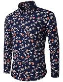 cheap Men's Shirts-Men's Slim Shirt - Floral Print Classic Collar / Long Sleeve