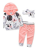 levne Dětské bundičky a kabátky-Toddler Unisex Květinový Šaty Květinový Sporty Módní Dlouhý rukáv Standardní Standardní Bavlna Sady oblečení Oranžová