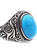 cheap Fashion Hats-Men's Turquoise Ring - Stainless Steel Unique Design, Basic 7 / 8 / 9 Black / Blue LED For Thank You / Daily / Casual