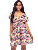 billige Kjoler i plus størrelser-Dame Plusstørrelser A-linje Kjole Trykt mønster Mini V-hals