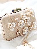 baratos Vestidos para as Mães dos Noivos-Mulheres Bolsas PU Bolsa de Festa Flor Sólido Champanhe