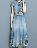 baratos Vestidos de Mulher-Mulheres Temática Asiática Bainha Vestido - Estampado Gola Redonda