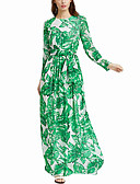 cheap Print Dresses-Women's Party / Going out Boho / Street chic Swing Dress Ruched / Print Maxi
