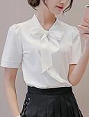 baratos Camisas Femininas-Mulheres Blusa Sólido Decote V / Laço