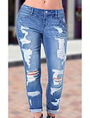 cheap Women's Pants-Women's Street chic Cotton Skinny Jeans Pants - Solid Colored Ripped