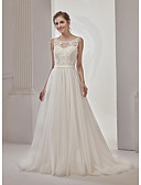 cheap Wedding Dresses-A-Line / Princess Illusion Neck Court Train Lace / Tulle Made-To-Measure Wedding Dresses with Beading / Sashes / Ribbons by LAN TING Express / See-Through / Beautiful Back