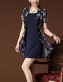 رخيصةأون فساتين للنساء-رقبة مربعة طباعة فستان A خط غمد قياس كبير للمرأة