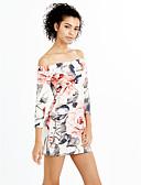 olcso Női ruhák-Női Parti Bodycon Ruha - Nyitott hátú, Virágos Mini Csónaknyak