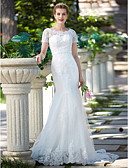 cheap Wedding Dresses-Mermaid / Trumpet Jewel Neck Sweep / Brush Train Lace Over Tulle Made-To-Measure Wedding Dresses with Appliques / Sash / Ribbon by LAN TING BRIDE®