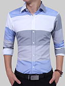 cheap Men's Shirts-Men's Work Cotton Slim Shirt - Color Block Blue & White, Patchwork Spread Collar / Long Sleeve