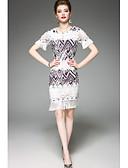 baratos Vestidos Femininos-Mulheres Sofisticado Delgado Bainha Vestido - Estampado, Geométrica Acima do Joelho