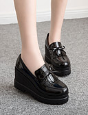 cheap Evening Dresses-Women's Shoes PU(Polyurethane) Spring / Fall Comfort Loafers & Slip-Ons Wedge Heel Black / Burgundy