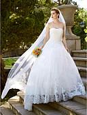 olcso Menyasszonyi ruhák-Báli ruha / Hercegnő Pánt nélküli Földig érő Csipke tüllön Made-to-measure esküvői ruhák val vel Csipke által LAN TING BRIDE® / Vintage-inspirált