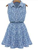 hesapli Kadın Elbiseleri-Kadın's Kumsal Dışarı Çıkma Pamuklu A Şekilli Salaş Kılıf Elbise - Solid Çiçekli, Desen Kare Yaka Diz üstü Yüksek Bel