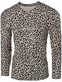 cheap Fashion Belts-Men's Punk & Gothic Cotton T-shirt - Leopard V Neck / Long Sleeve