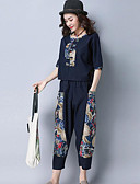 cheap Women's Two Piece Sets-Women's Going out Vintage / Casual Shirt - Solid Colored Pant / Summer