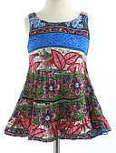 cheap Girls' Clothing-Girl's Lattice Dress, Cotton Summer Sleeveless Floral Blue