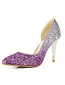 hesapli Özel Davet Elbiseleri-Kadın's Ayakkabı Parıltılı Bahar / Yaz Topuklular Stiletto Topuk Sivri Uçlu Parti ve Gece için Payet Gümüş / Mor / Kırmızı Şarap
