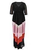 baratos Vestidos de Mulher-Mulheres Tamanhos Grandes Solto Vestido - Estampado Decote V Longo