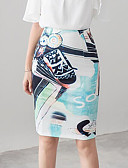 cheap Women's Skirts-Women's Going out Street chic Plus Size Pencil Skirts - Floral