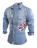 رخيصةأون قمصان رجالي-رجالي قطن قميص نحيل ياقة كلاسيكية طباعة العلم الوطني / كم طويل